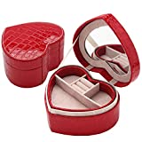 KUKI SHOP 2-Layer Synthetic Leather Heart Shaped Mini Portable Jewelry Display Storage Organizer Box Case with Mirror for Necklace Earrings Bracelets Hairpieces Rings Brooches (Red)