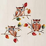 Set of 3 Fall Harvest Leaf Owl Birds Metal Wall Hangings Autumn Home Decor