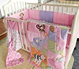 NAUGHTYBOSS Girl Baby Bedding Set Cotton 3D Embroidery Zebra Giraffe Monkey Hippopotamus Quilt Bumper Bedskirt Mattress Cover Diaper Bag Blanket 9 Pieces Set Pink