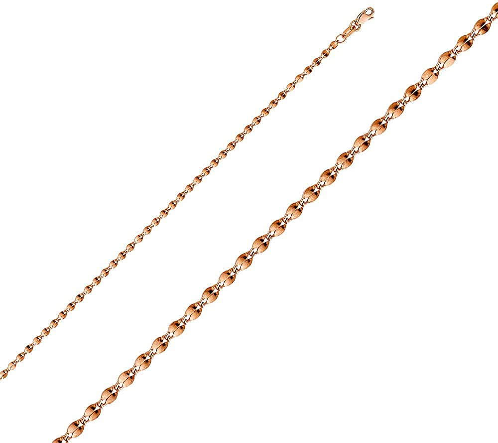 FB Jewels 14K Rose Gold Hollow Curve Mirror Chain Necklace With Lobster Claw Clasp