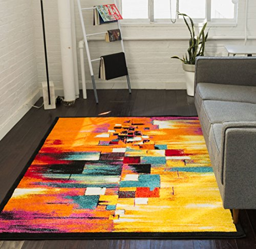Abstract Modern Painting - Champlain Multi Cubes Yellow Orange Blue Modern Abstract Painting Area Rug 8x10 ( 7'10