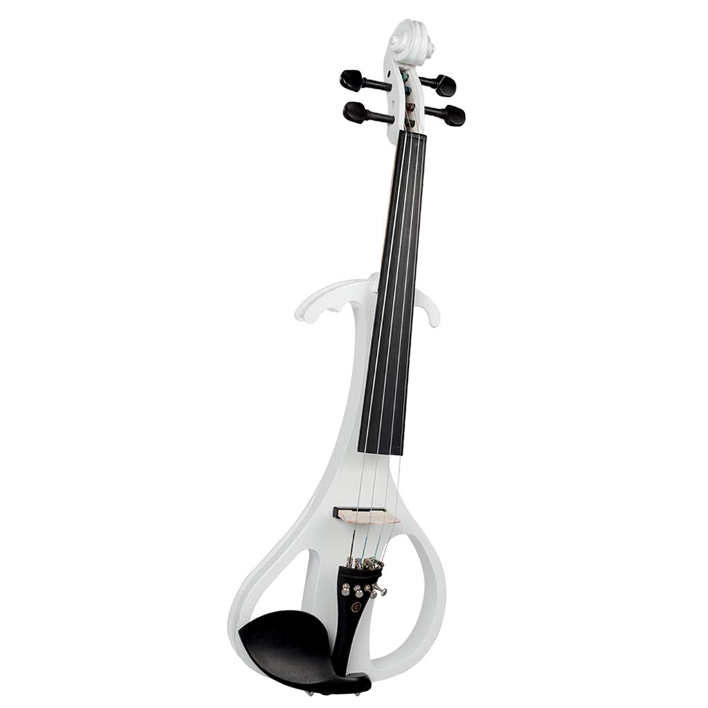 4/4 Electric Violin Full Size Wood Silent Fiddle with Ebony Fittings Headphone Cable (White)