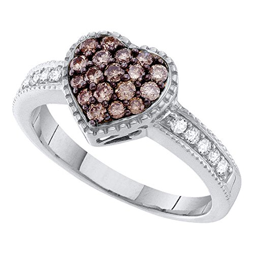 14kt White Gold Womens Round Cognac-brown Color Enhanced Diamond Heart Cluster Ring 3/8 Cttw