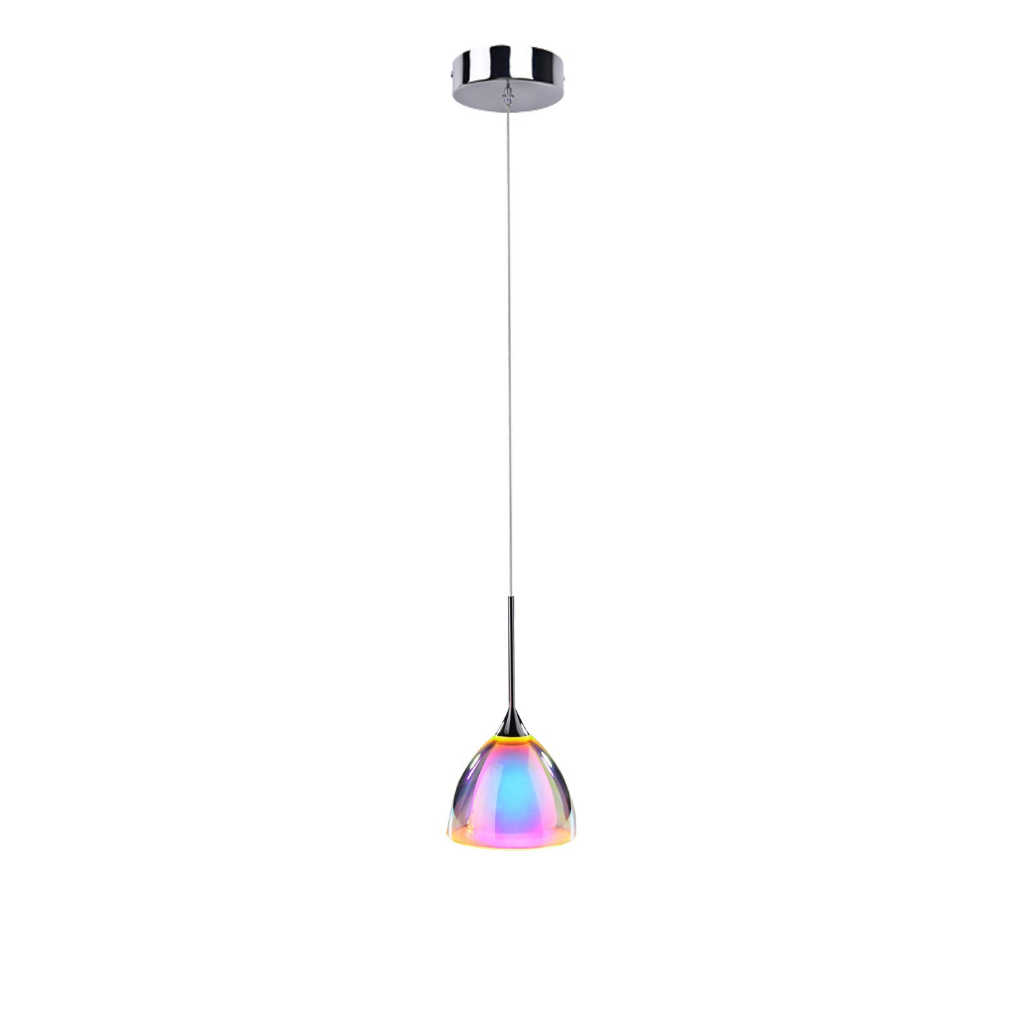 OBSESS 5W COB LED Mini Pendant Light with Color Plating Glass Shade and Aluminium Trim,Polished Chrome(Kitchen/Bar Pendant Light )