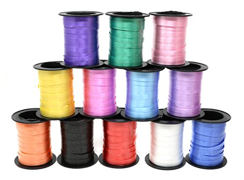 Assorted Colors Curling Ribbon 60 Feet Per Roll For All Occasions - 12 Rolls Per Pack by SN Incorp.