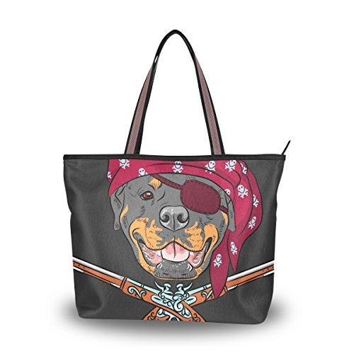 Cooper girl Dog Rottweiler Pirate With Pistols Tote Bag Top Handle Handbag Shoulder Bag Large Capacity (Kid Pirate Tote)