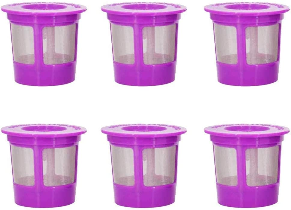 Emoly Reusable K Cups, 6 Pack Universal Fit Reusable Coffee Filters with Food Grade Stainless Steel Mesh Eco-Friendly Filter for Keurig 1.0 and 2.0 Brewers,Mini Plus (Purple)