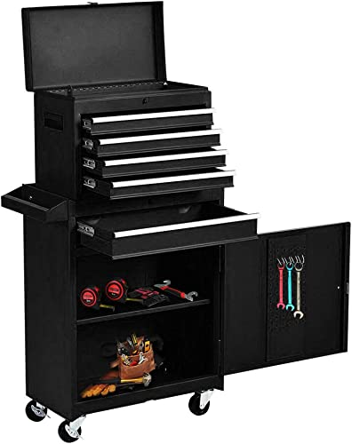 Big Rolling Tool Chest with Lock Drawer, Removable Tool Cabinet, 5-Drawer Service Tool Chest Tool Organizer, Multi- purpose, Storage Tool Cabinet Organizer Black