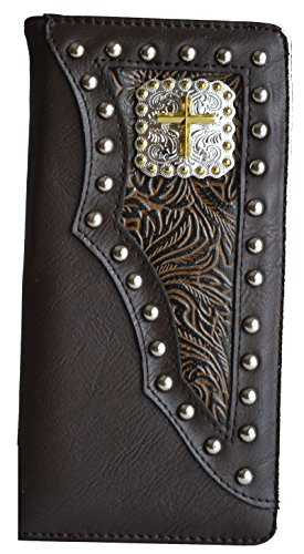 Studded Checkbook Wallet - Men Western Brown Cowboy Cross Concho Leather Tooled Studded Long Wallet