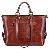 S-ZONE Women's 3-Way Genuine Leather Work Tote Laptop Shoulder Handbag Messenger Bag Fit 14 Laptop Upgraded Version
