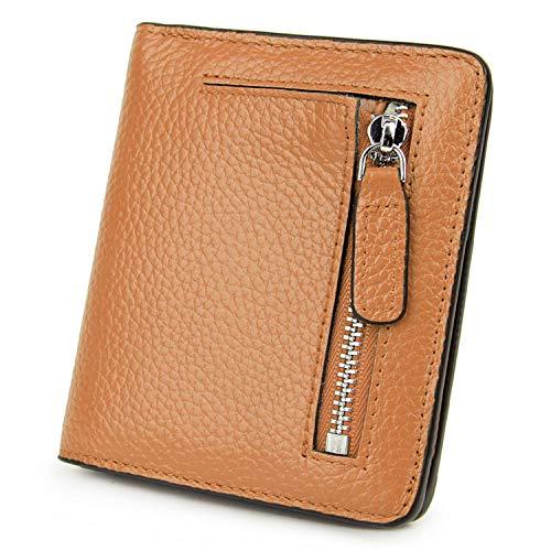 BIG SALE-AINIMOER Women's RFID Blocking Leather Small Compact Bifold Pocket Wallet Ladies Mini Purse with id Window (Brown)