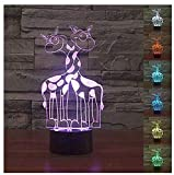 3D Animal Giraffe Night Light Touch Table Desk Optical Illusion Lamps 7 Color Changing Lights Home Decoration Xmas Birthday Gift
