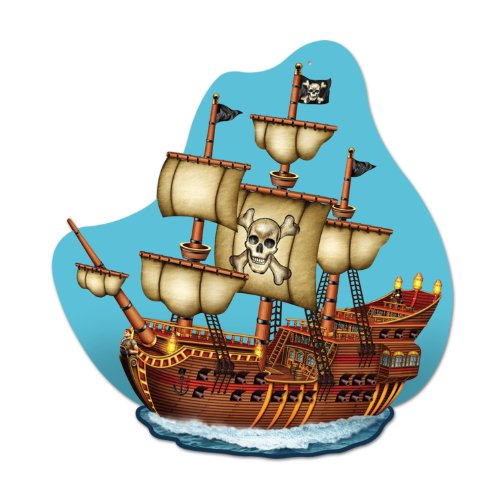 Pirate Ship Wall Plaque Party Accessory (1 count) (Out Cut Ship)