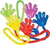 72 Novelty Vinyl Sticky Hands For Kids, Assorted Colors - Glittery Fun Color Designs - 7 Inches Long