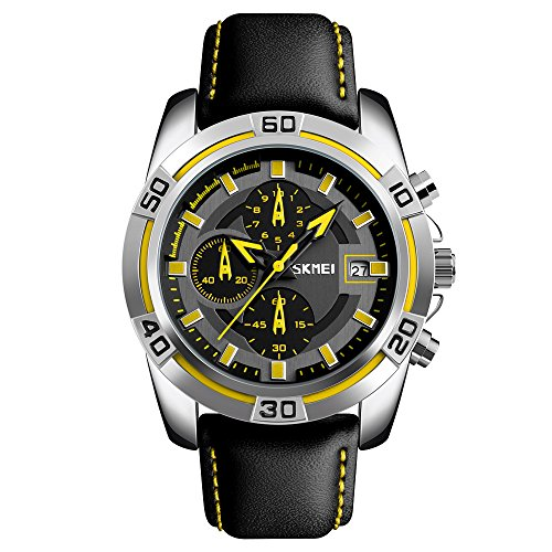 Sports Mens Watches,SKMEI Chronograph And Date Wristwatches For Men,30 Meters Waterproof Soft Black Leather Strap Military Watch (yellow)