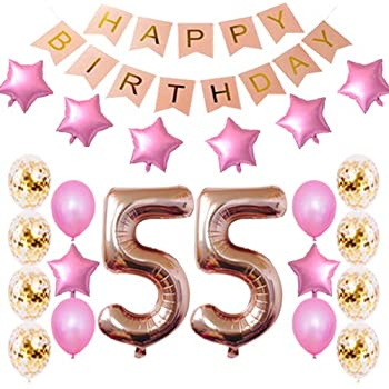 Amazon.com: 55th Birthday Decorations Party Supplies Happy ...