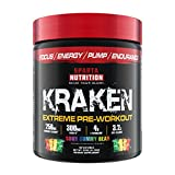 Sparta Nutrition Kraken Pre Workout Powder - Best Pre-Workout for Men / Women, Nitric Oxide Booster & Nootropic Drink to Increase Energy, Focus, and Muscle Pumps - Sour Gummy Bear, 40 Servings