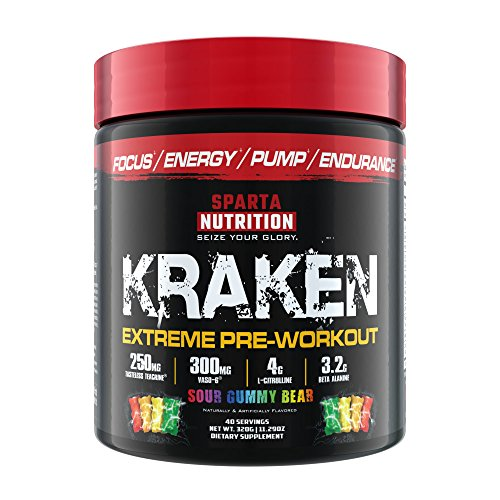 Sparta Nutrition Kraken Pre Workout Powder - Best Pre-Workout for Men / Women, Nitric Oxide Booster & Nootropic Drink to Increase Energy, Focus, and Muscle Pumps - Sour Gummy Bear, - A Kraken