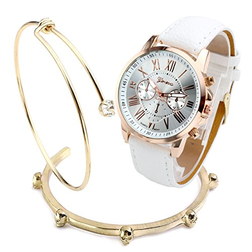 Top Plaza Fashion Womens Analog Watch PU Leather Band Rose Gold Tone -White