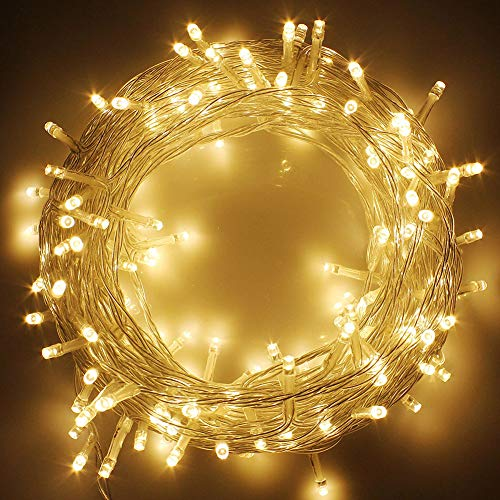 Twinkle Star 49FT 100 LED Indoor String Lights Warm White, Plug in String Lights 8 Modes Waterproof Indoor Outdoor Christmas Tree Wedding Party Bedroom Wall Decoration, Extendable to 1000 LED