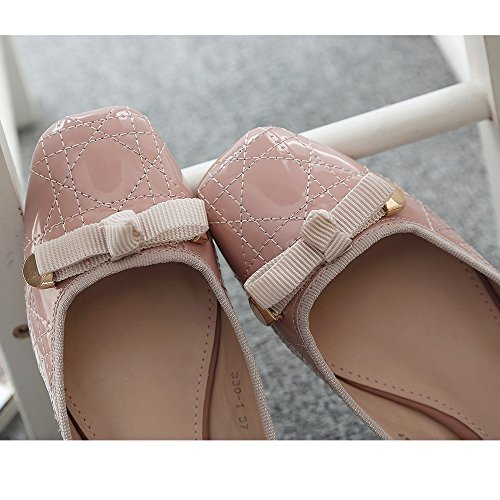 Meeshine Mujeres Square Toe Bowknot Ballet Comodidad Slip On Pisos Zapatos De Color Rosa