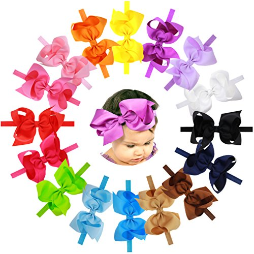 Price comparison product image 16Pcs 6 inches Big Bows Baby Girls Toddlers Kids Teens Children Grosgrain Ribbon Hair Bows Soft Elastic Baby Headbands