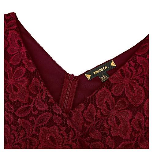 Rosso Corta Miusol Fit Pizzo Coctel Vestito 1 Slim Donna Elegante q0P0w8Z