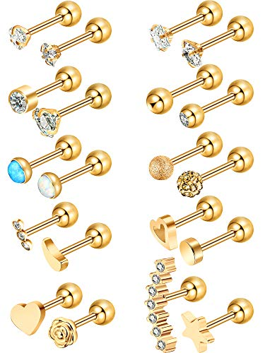 Blulu 20 Pieces 16G Stainless Steel Nose Studs Nose Lips Tragus Labret Cartilage Piercing Jewelry for Women Girls, 20 Styles (Gold 2) ()