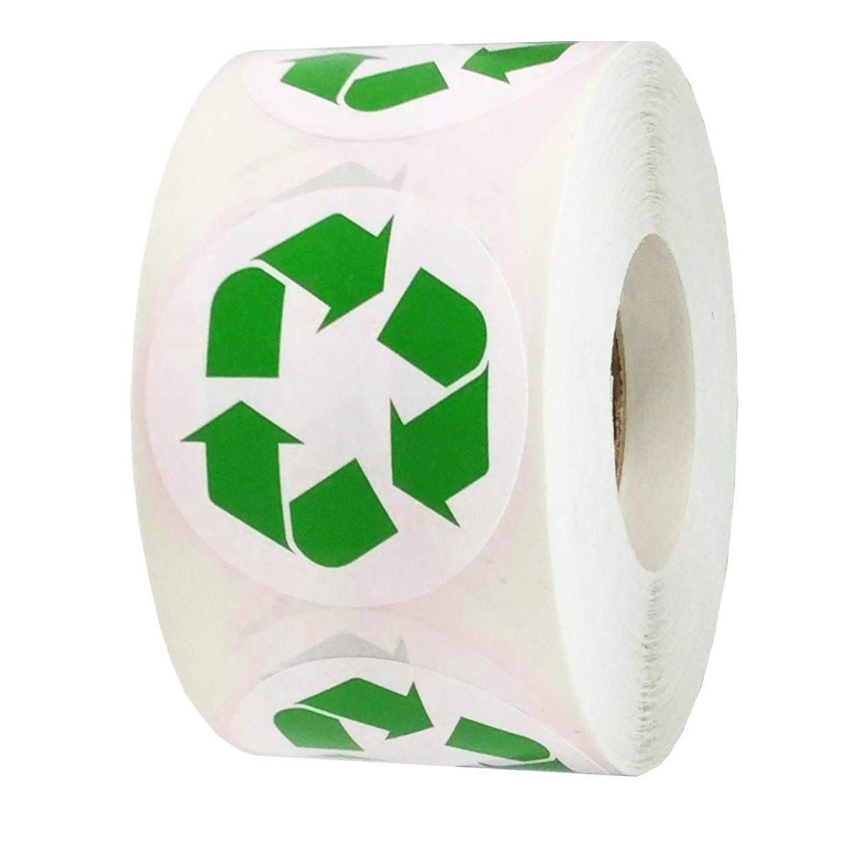 Pop Resin 1.5'' Inch Recycle Logo Stickers Round Recycling Symbol LabelsSelf Adhesive Indoor and Outdoor Stickers 500 Per Roll