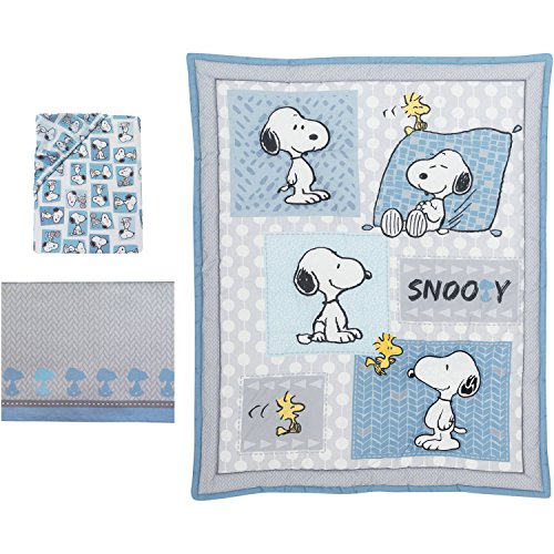 AB 3 Piece Baby Blue Grey Snoopy Crib Bedding Set, Newborn White Peanuts Nursery Bed Set, ComicThemed Dog Charlie Brown Woodstock Cute Adorable Quilt Blanket, Cotton Polyester