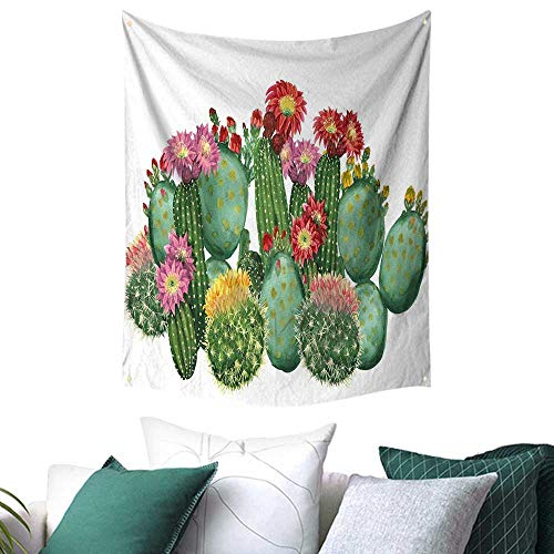 r Wall Tapestry Hanging Saguaro Barrel Hedge Hog Prickly Pear Opuntia Tropical Botany Garden Plants Home Decor Curtain 54W x 72L INCH Multicolor ()