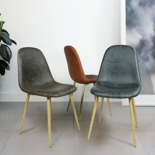WV LeisureMaster Set of 4 PU Leather Eames Style Dining Chair With Wooden Transprint Metal Legs,Black