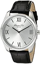 Kenneth Cole New York Men's 10019680 Classic Silver-Tone Watch with Black Leather Band