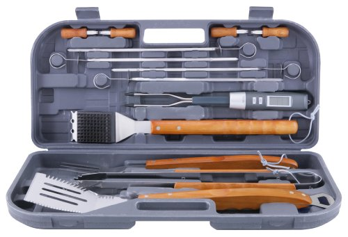 Mr bar b q 94122x 12 piece tool set with bonus thermo fork for Pretty garden tools set