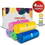Small Trash Bags, 4 Gallon Small Garbage Bags Thicken Material Wastebasket Liners Bags Small Size 15-Liters For Office, Home, Bathroom, Kitchen, 150 Counts 5 Color