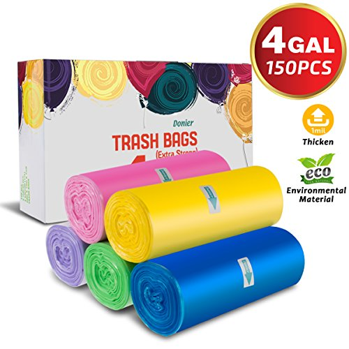 Small Trash Bags, 4 Gallon Small Garbage Bags Thicken Material Wastebasket Liners Bags Small Size 15-Liters for Office, Home, Bathroom, Kitchen, 150 Counts 5 Color (4 Gallon Trash bags/150pcs)
