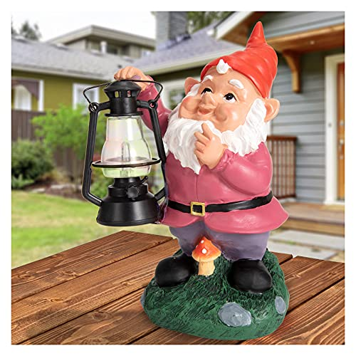 Garden Gnome Decor Outdoor Statues - Gnome Statue Holding Vintage Lantern Solar Powered Funny Outdoor Figurine Lights for Patio Yard Decorations
