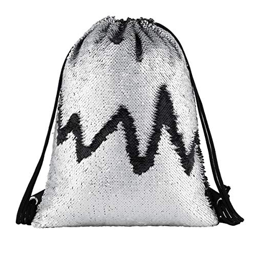 (Segorts Mermaid Drawstring Bag Magic Reversible Sequin Backpack Glittering Dance School Bag for Yoga Outdoors Sports, for Girls Women Kids (Matt Black/Silver), One Size)