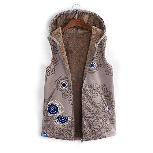 Denim Energie Pants (ANJUNIE Women Warm Vest Outwear Vintage Geometric Print Hooded Oversize Coat with Pockets (Khaki,M))