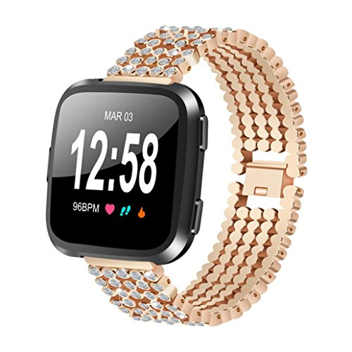 KFSO For Fitbit Versa, 160mm Luxury Glitter Crystal Alloy Replacement Watch Band Wrist Strap (Rose Gold)
