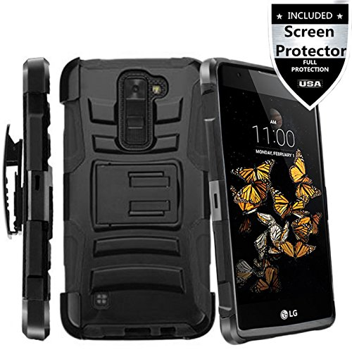 LG Phoenix 2 Case,IDEA LINE INC(TM)Heavy Duty Armor Shock Proof Dual Layer Holster Locking Belt Swivel Clip with Kick Stand + Stylus Pen + Premium Screen Protector(Black/Black)