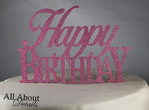 All About Details Pink Happy-birthday Cake Topper
