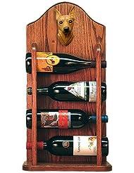 RED Miniature Pinscher Wine Rack 4 Bottle Design In Dark Oak By Michael Park