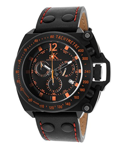Adee Kaye Ak6566-Or Men's Trigger Chrono Black Gen Leather And Dial Orange Accents Blk Ip Ss Watch