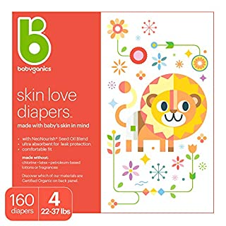 Babyganics Ultra Absorbent Diapers, Size 4, 160 ct