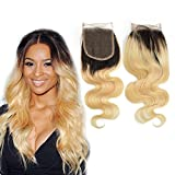Dingli Hair 4x4 Free Part Ombre Blonde 1 Piece Closure 100% Brazilian Virgin Hair Body Wave Swiss Lace Closure with Baby Hair #1b/613 (8 inch)