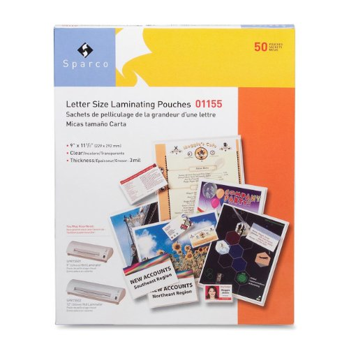 Sparco Laminating Pouch, Letter, 9 x 11-1/2 Inches, 3 mil, 50 per Box, CL (SPR01155)
