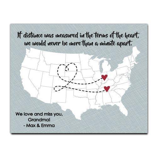 Going Away Paper Art Print | Long Distance Map Gift | Unique Grandparent Gift | Long Distance Grandparent Gift | Grandparent Map | Grandparent Gift | Grandma Gift | Grandpa Gift (Unique Christmas Gifts Grandparents)