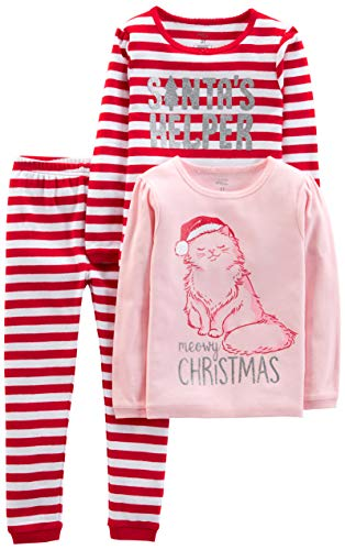 Simple Joys by Carter's Girls' Little Kid 3-Piece Snug-Fit Cotton Christmas Pajama Set, Red Stripe/Kitty, 6