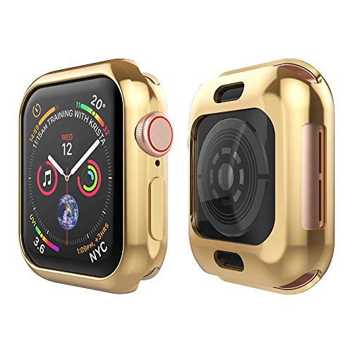 Tech Express Metallic Chrome Bumper Protection Case for Apple Watch Series 4 [iWatch Cover] Rugged Skin TPU Gel Cover Shockproof Tough Full Body Screen Access Open Front (Gold, 44mm)